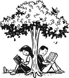 Kids reading under a tree